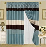 3-Layer Modern BLUE/BEIGE/BROWN Pin Tuck Curtain Window Panel with attached valance and sheer back