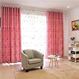 AliFish 1 Panel Embroidered Floral Pattern Blackout Thermal Curtains Hot Pink Curtains Lovely Pink Curtain with Grommets for Living Room/Girls Room W52 x L84 inch