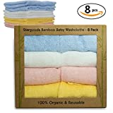 Image of Stargoods Bamboo Baby Washcloths - Baby Bath Set of 8 Organic Towels
