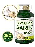 Horbaach Odorless Garlic 1200 mg (250 Softgels) | Ultra Potent and Pure Garlic