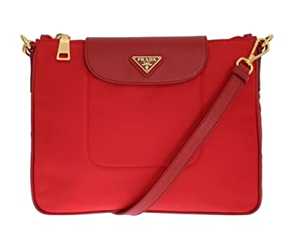7ef4b75bcccee PRADA BT0933 Tessuto Saffian Nylon and Leather Crossbody Messenger Bag  (Rosso Red)  Amazon.in  Bags