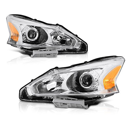 VIPMOTOZ Chrome Housing OE-Style Projector Headlight Headlamp Assembly For 2013-2015 Nissan Altima Sedan Halogen Model, Driver & Passenger Side