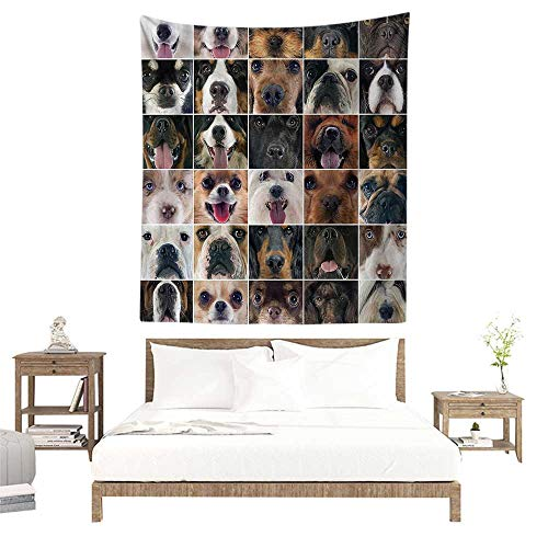 alisoso Christmas Tapestry,Dog Lover Decor Collection,Dogs Studio Shot Chihuahua Chow Chow Cocker Spaniel Poodle Purebred Sheepdog,Brown Black W70 x L93 inch Towel Throw Tapestry Decor
