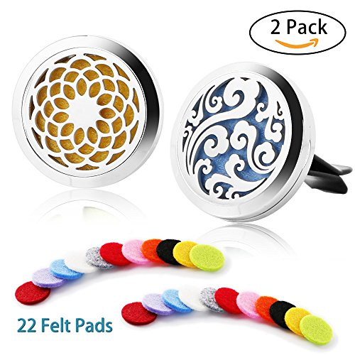 Fragrance Perfume Air Freshener - 2 Pack Car Fragrance Essential Oil Perfume Diffuser — Stainless Steel Air Freshener Locket with Vent Clip 22 Replacement Felt Pads,Cloud and Sunflower