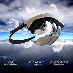 90°FOV AR Headset, Smart AR Glasses 3D Video Augmented Reality VR Headset Glasses for iPhone & Android (4.5-5.5'' Screen), 3D Videos and Games (Color: White)