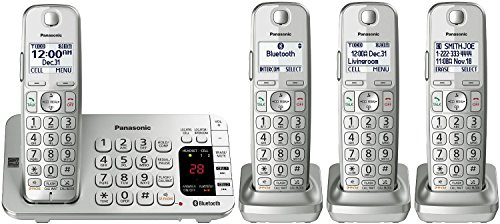 Panasonic KX-TGE474S Link2Cell Bluetooth Enabled Phone with Answering Machine, 4 Cordless Handsets, Silver/White (Certified Refurbished) (Panasonic Bluetooth Link2cell)