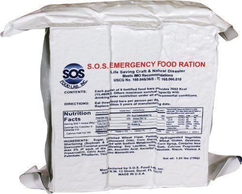 3600 Food Emergency (S.O.S. Rations Emergency 3600 Calorie Food Bar - 3 Day / 72 Hour Package with 5 Year Shelf Life 4 pack)