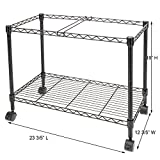 Bonnlo Premium 1-Tier Metal Rolling File Cart for Letter Size and Legal Size Folder Mesh Organizer Cart with 4 Rolling Wheels Black 23.6 x 12.6 x 18 Inches L x W x H