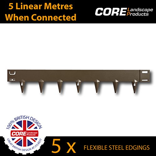 CORE Edge 100mm face Flexible Steel Garden Edging (5 Per Pack) Covers 5 Linear Meters when connected! (Various Colours) (Cor-Ten) CORE Landscape Products