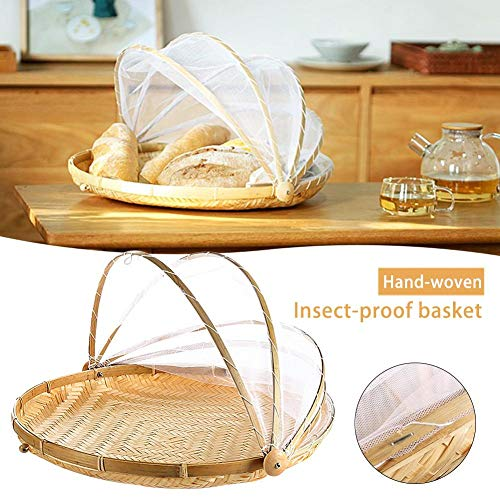 Dustproof Hand-Woven Food Serving Tent Basket, Bread Cover Storage Container Outdoor Picnic Food Cover Mesh Tent Basket with Gauze(Bug- Proof, Dust-Proof) Keep Out Flies, Bugs, Mosquitoes
