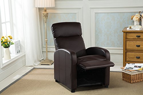 Reclining Accent Chair for Living Room, Faux Leather Cushioned Arm Chair (Brown) ()