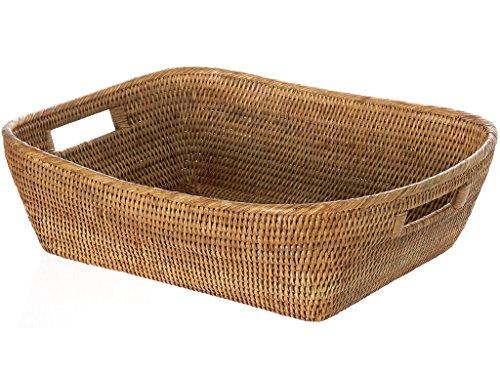 KOUBOO La Jolla Oblong Rattan Storage and Shelf Basket, Honey-Brown