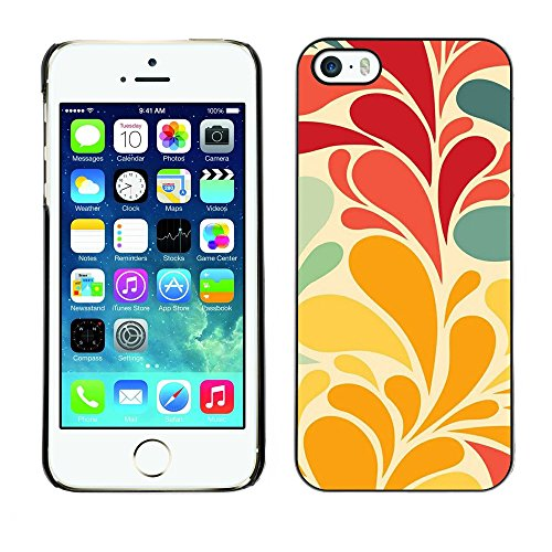 Soft Silicone Rubber Case Hard Cover Protective Accessory Compatible with Apple iPhone? 5 & 5S - flowers leaves wallpaper red teal
