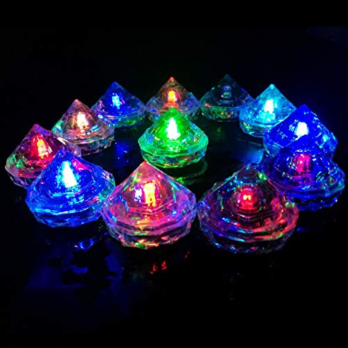 Hongtang 12Pcs Multicolors Liquid Sensor Changing Blinking Flashing LED Light Up LED Ice Cubes Event Party Decoration -