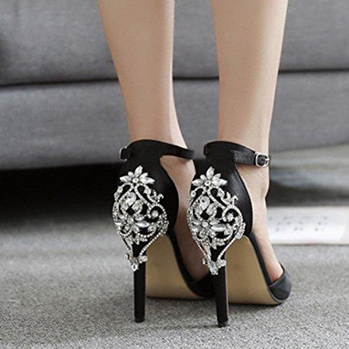 Upxiang Frauen Luxus Diamant Kristall High Heel Knoechelriemchen Dünne Fersen Super High Spitzschuh Mode Sandalen Party Hochzeit Heels Schuhe