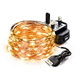 Led String Lights SEALIGHT Fairy Copper Wire Light 10M 100 LEDs Warm White USB & Power Adapter for Home Christmas Decora