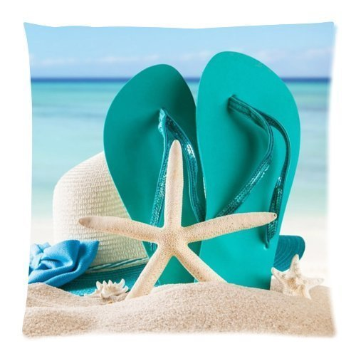 Beach Flip Flops Best-selling Zippered Pillow Cases 18x18 (Two Sides)