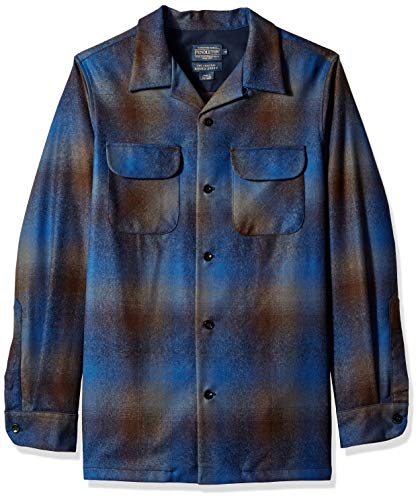 Pendleton Men's Long Sleeve Fitted Board Shirt, Brown/Blue Ombre 32164, XXL