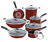 Emeril by All-Clad E411SD Hard Enamel Nonstick Dishwasher / Oven Safe Cookware Set, 13-Piece, Red