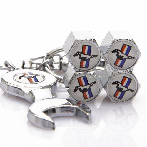 D&R® Wrench Keychain Chrome Tire Valve Stem Caps For Ford Mustang