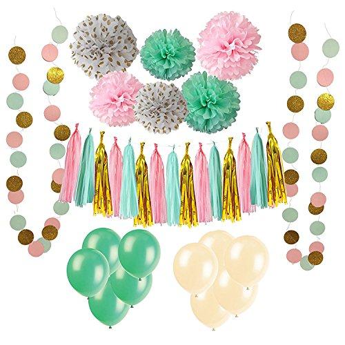 Wartoon 33 Pcs Paper Pom Poms Flowers Tissue Balloon Tassel Garland Polka Dot Paper Garland Kit for Birthday Wedding Party Decorations - Green and Pink