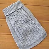 Tangpan Turtleneck Classic Straw-Rope Pet Dog Sweater Apparel (Blue,L)