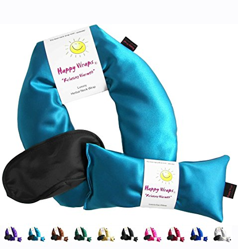 Happy Wraps Herbal Neck Wrap with Eye Pillow and Sleep Mask - Aqua
