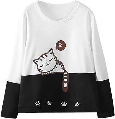 LuckES Jersey de Bordado de Gato de Mujer, Blusa de Manga Larga Mujeres Sudadera con Cuello Redondo Camisa básica Tops: Amazon.es: Ropa y accesorios