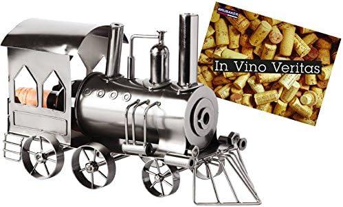 [Gesponsert]Brubaker Flaschenhalter Lokomotive Metall Skulptur Geschenk mit Geschenkkarte
