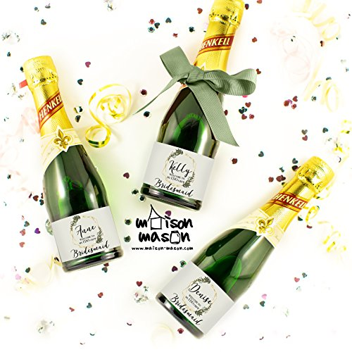 CUSTOM - Welcome to My I Do Crew Mini Champagne or Mini Wine Labels, Olive Branch Champagne Labels, SET OF 10 3