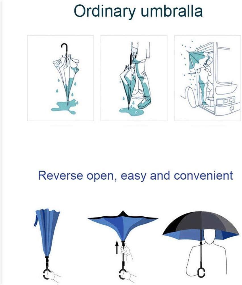 Upside Down Umbrellas C-Shaped Handle Women Men Double Layer Inside Out Folding Umbrella Lemon Reverse Inverted Windproof Umbrella