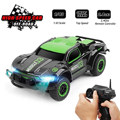 Toys for 6-12 Year Old Boys Byserten Remote Control Car RC Cars with LED Lights High Speed Racing 2.4 GHz Wrieless Controlled 1:43 Scale Off-Road Vehicle RC Trucks Best Gift for Kids Green Christmas