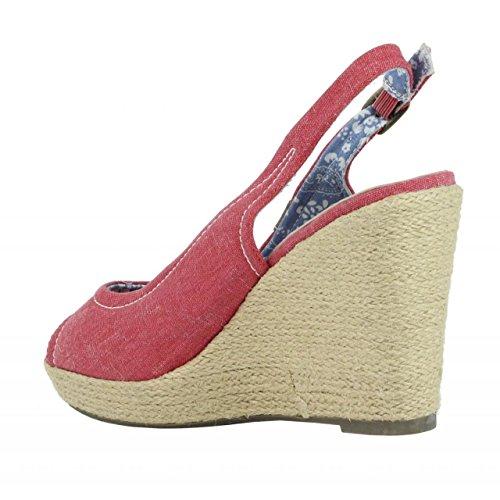 Zapatos de cuña de Mujer REFRESH 62037 JEANS ROJO