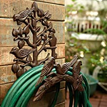 Sungmor Heavy Duty Cast Iron Hose Holder,Garden & Yard Decorative Birds Wall Mounted Hose Butler,Water Pipe Holds,Rack,Hanger,Antique Wall Decorations