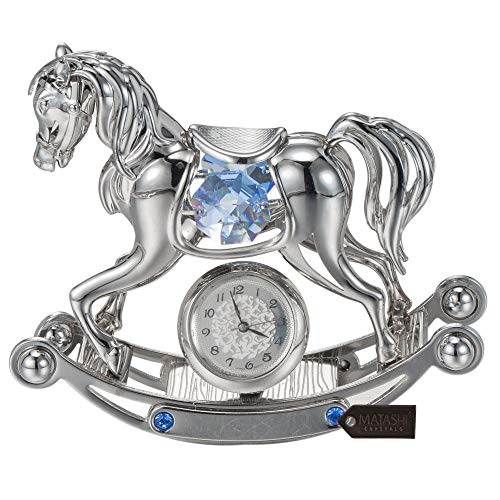 Chrome Plated Desk Clock - Matashi Chrome Plated Crystal Studded Silver Rocking Horse Desk Clock Ornament