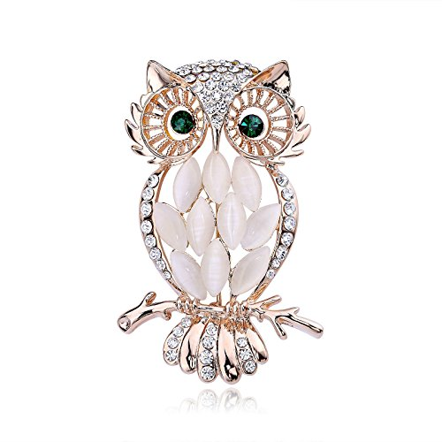 DECO FAIRY (Jewelry) Gold Plated Full Inlay Crystal Cute Green Eyed Owl Brooch and Pin
