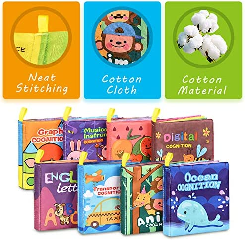 51V38%2B3Fd0L. AC - Baby Bath Books,Nontoxic Fabric Soft Baby Cloth Books,Early Education Toys,Waterproof Baby Books For Toddler, Infants Perfect Shower Toys,Kids Bath Toys Best Gift(Pack Of 8)