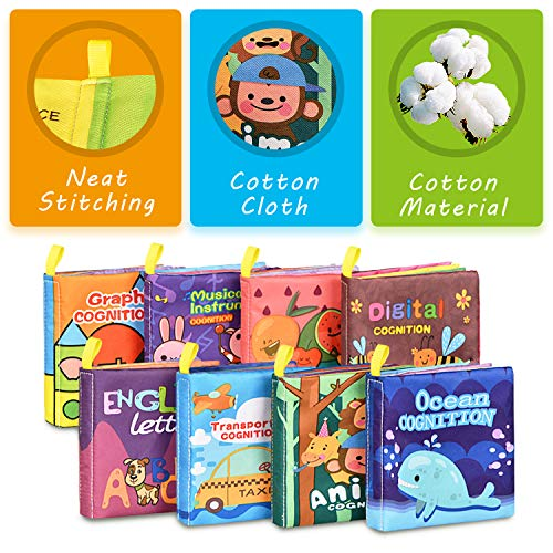 Baby Bath Books,Nontoxic Fabric Soft Baby Cloth Books,Early Education Toys,Waterproof Baby Books for Toddler, Infants…