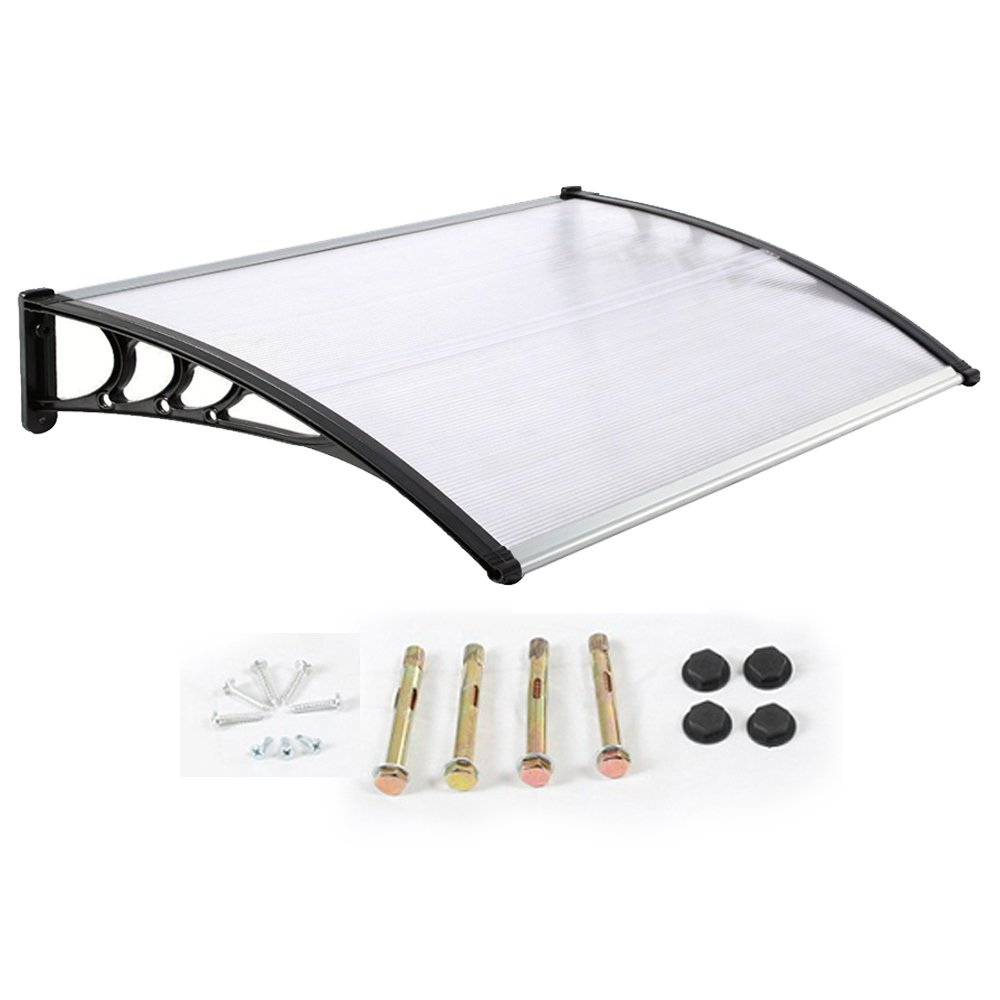Door Canopy Awning Shelter Front Back Porch Out Door Shade 80 X 120CM (Black) DennyShop