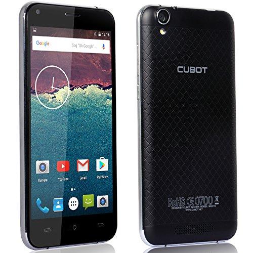 Cubot Manito Smartphone ohne Vertrag ( 5 Zoll (12.7 cm) HD Touch-Display mit rutschhemmender Rückenabdeckung, 3GB Ram, Android 6.0, 4G LTE FDD, Dual-SIM (eine Micro Sim, eine Nano Sim und eine Micro SD Karte), 16GB interner Speicher, 5MP Frontkamera 13MP Hauptkamera, Mediathek MT6737 - 64 bit, 1.3GHz, Quad-Core, 2.5D abgerundeter Bildschirm ) Farbe: Schwarz