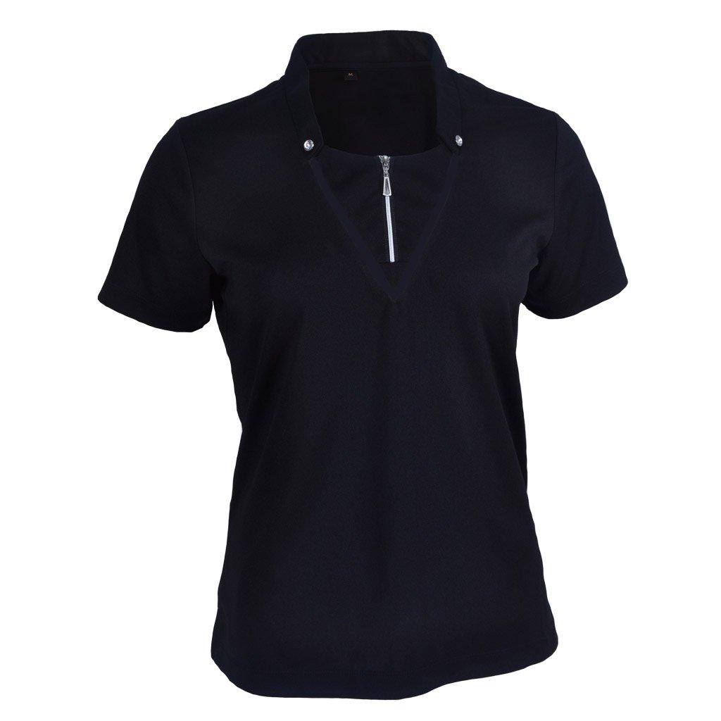 Monterey Club Ladies DryスイングDouble Placket Standup Collarシャツ# 2442 XL ブラック B01BMXUS8M