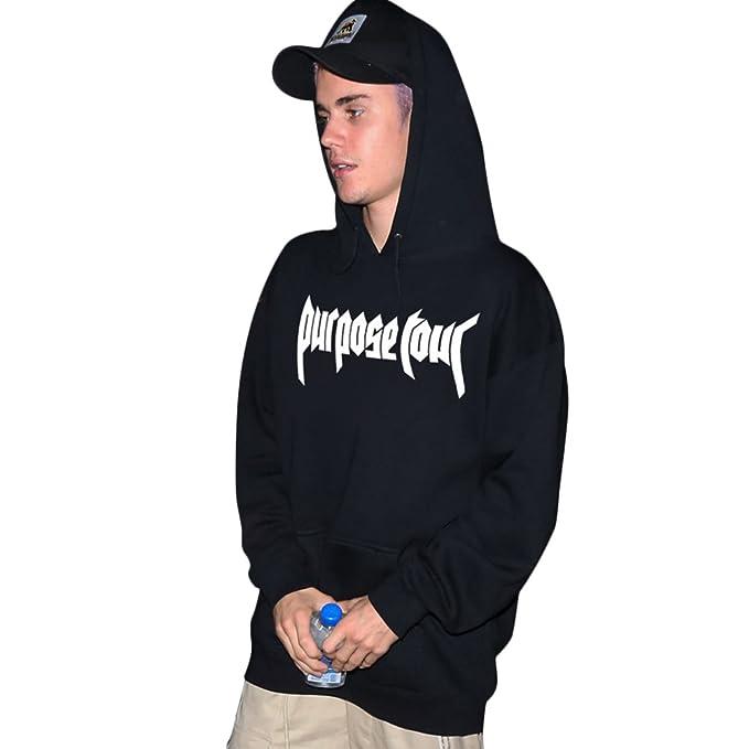 Purpose Tour Sudadera Con Capucha Negro Justin Bieber Merch (S)