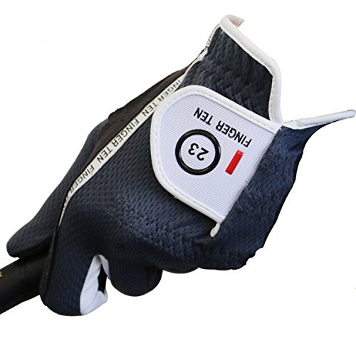 Men's Golf Glove Rain Grip Black Grey Color Pack, Durable Fit for Hot Wet All Weather, Left Hand Set Size Small Medium Large XL, By Finger Ten (26=Large Grey)