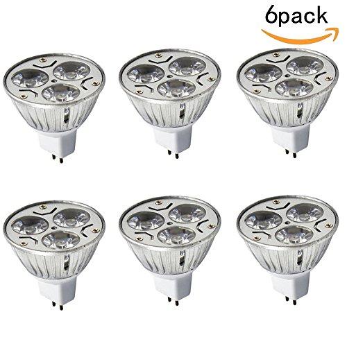 JKLcom MR16 LED Bulbs 6 Pack,MR16 3W 12V Warm White 2700K Dimmable 60 Degree Beam Angle LED Spotlight Bulbs for Landscape Recessed Lighting,35W Halogen Bulbs Equivalent