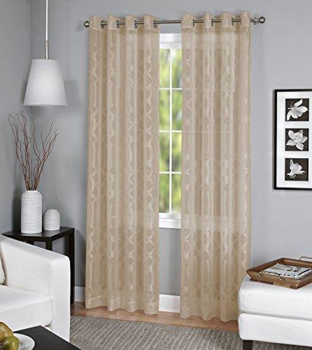 - Elrene Home Fashions 26865820331 Grommet Top Sheer Ironwork Damask Single Panel Window Curtain Drape, 52
