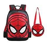 SUNBABY Boys' Backpack Spiderman Fans Gift Waterproof Comic School Bag With Lunch Kit