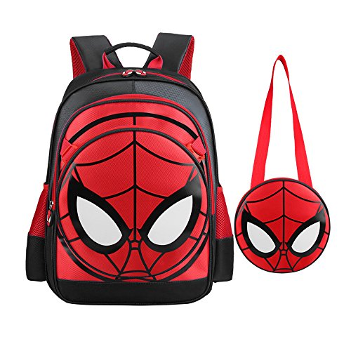 SUNBABY Boys' Backpack Spiderman Fans Gift Waterproof Comic School Bag with Lunch Kit (Spiderman-Black, One_Size)