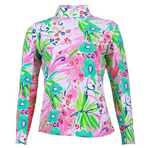 Womens Technical Mock Shirt - IBKUL Annie Print Long Sleeve Mock Neck Shirt Womens Pink