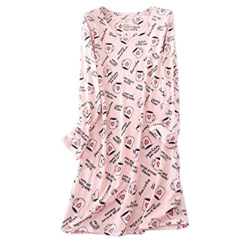 ENJOYNIGHT Women's Cotton Sleepwear Long Sleeves Nightgown Print Tee Sleep Dress (X-Large, Coffee Cup)