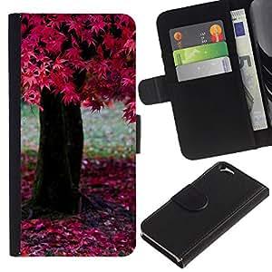 KLONGSHOP // Tirón de la caja Cartera de cuero con ranuras para tarjetas - Naturaleza Árbol rosado - Apple Iphone 6 //